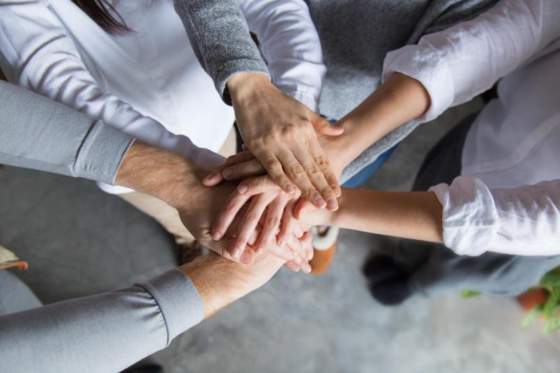forte cohésion d'équipe lors d'un team building